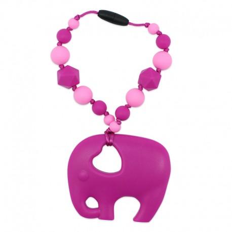 Silikonový přívěsek růžový slon s korálky
