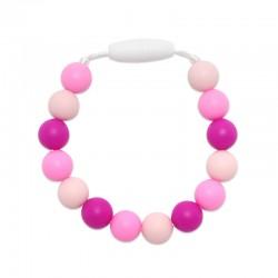 Silikonový náramek růžové korálky