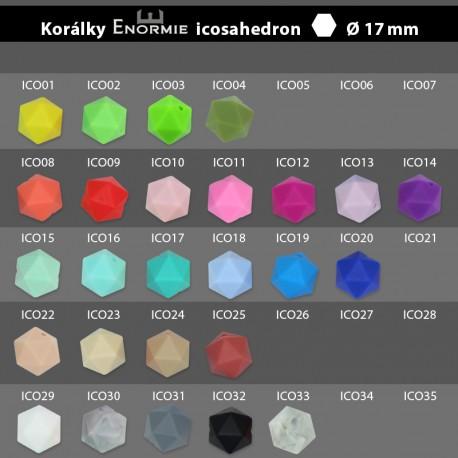Silikonové korálky icosahedron - průměr 17 mm