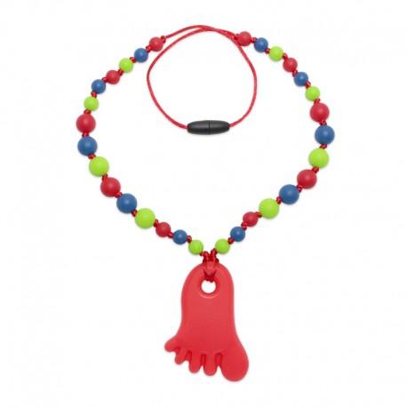 Silikonový náhrdelník červená nožička 2