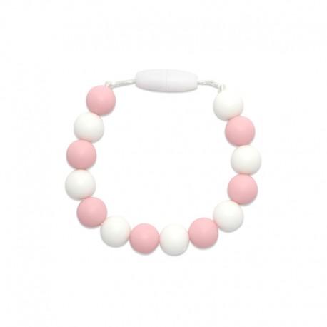 Silikonový náramek růžová-bílá