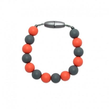 Silikonový náramek oranžová-šedá