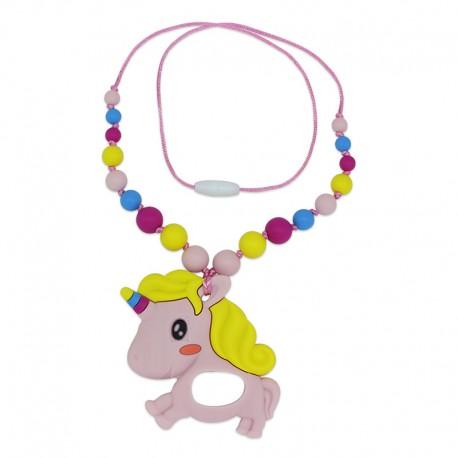 Silikonový náhrdelník růžový jednorožec s korálky