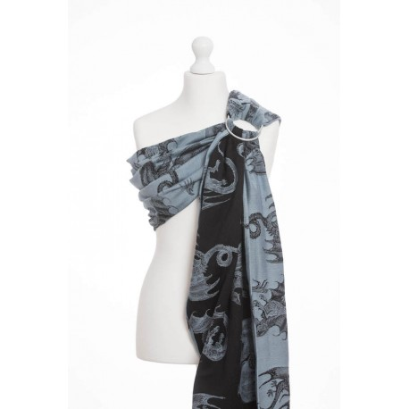 LennyLamb Dragon Steel Blue - žakárový šátek ring sling