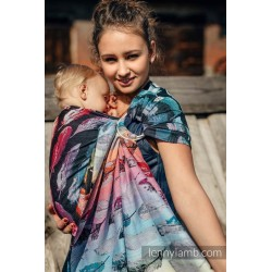 LennyLamb Painted Feathers Rainbow Dark - ring sling šátek