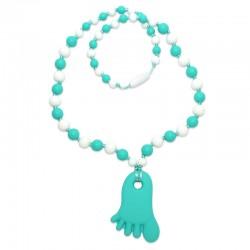Silikonový náhrdelník tyrkysová nožička s korálky 4