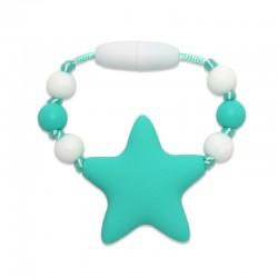 Silikonový kroužek na šátek tyrkysová hvězda