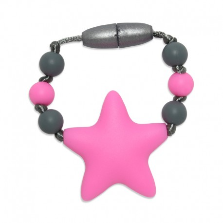 Silikonový kroužek na šátek růžová hvězda