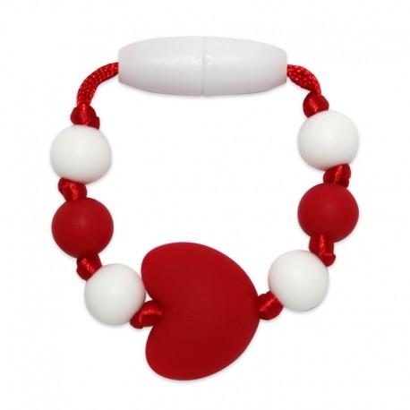 Silikonový kroužek na šátek červené srdce