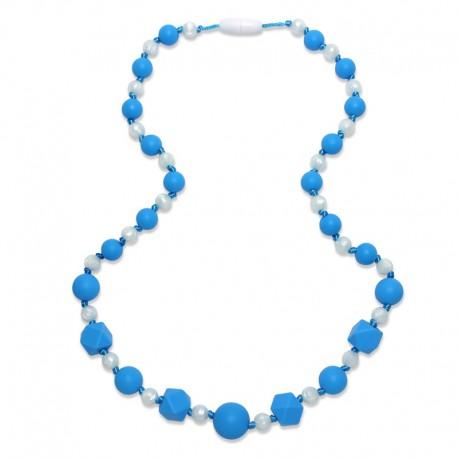 Silikonové korále modrá-metalicky bílá