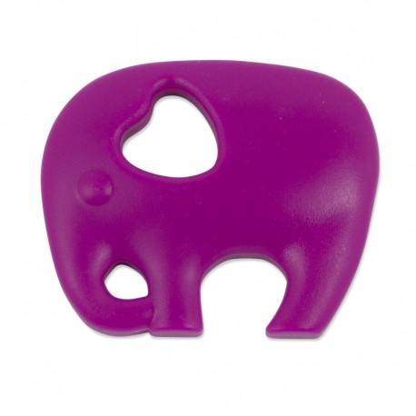 Silikonový přívěsek tmavě růžový slon