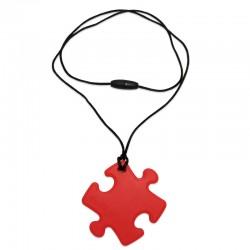Silikonový přívěsek puzzle červené