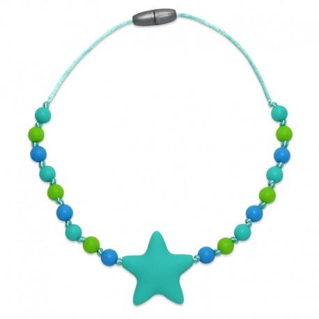 Silikonový náhrdelník pro děti tyrkysová hvězda