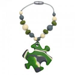 Silikonový přívěsek puzzle maskáčové s korálky