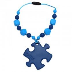 Silikonový přívěsek puzzle modré s korálky