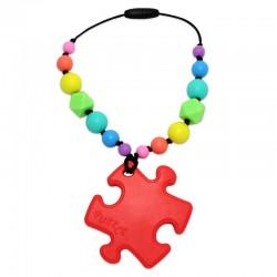 Silikonový přívěsek puzzle červené s korálky