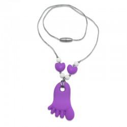 Silikonový náhrdelník fialová nožička