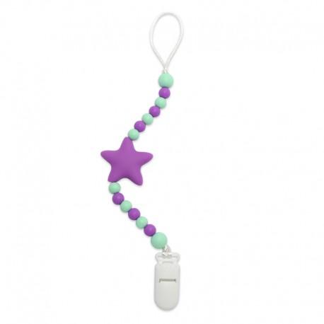 Silikonový klip na dudlík fialová hvězda