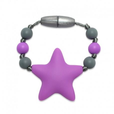 Silikonový kroužek na šátek fialová hvězda