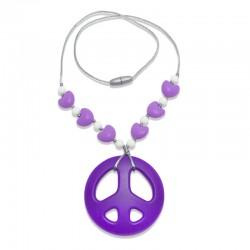 Silikonový náhrdelník hippies se srdíčky