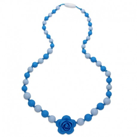 Silikonové korále s modrým květem