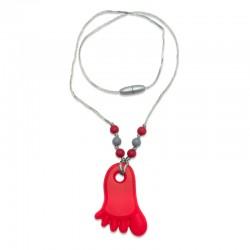 Silikonový náhrdelník červená nožička