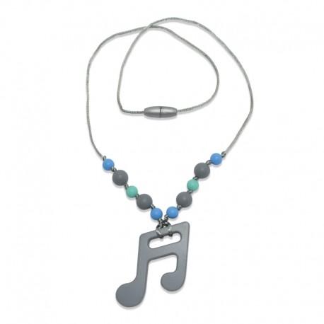 Silikonový náhrdelník šedá nota