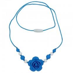 Silikonové korále s modrým květem 2