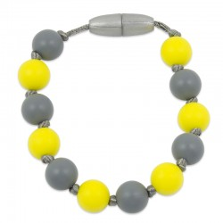 Silikonový náramek žluto-šedý