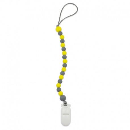 Silikonový klip na dudlík žluto-šedý