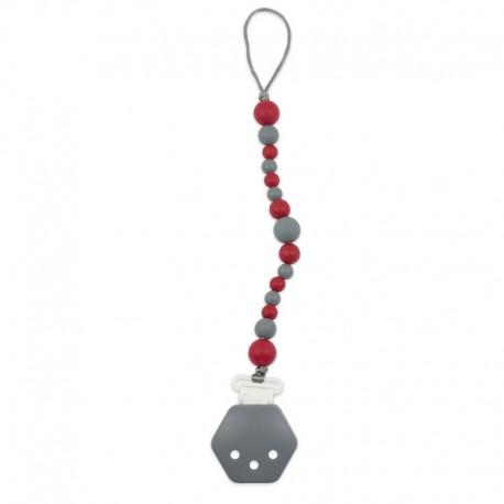 Silikonový klip na dudlík červeno-šedý