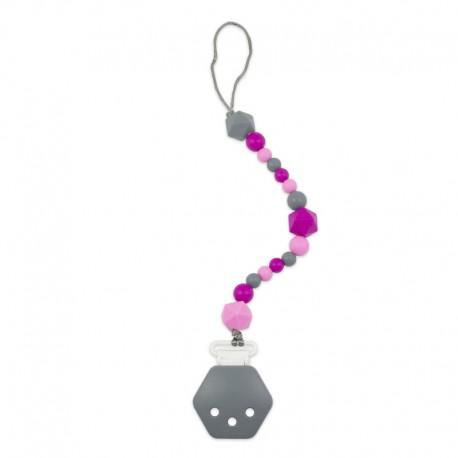 Silikonový klip na dudlík růžovo-šedý
