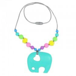 Silikonový náhrdelník tyrkysový slon s korálky
