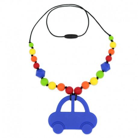Silikonový náhrdelník modré auto