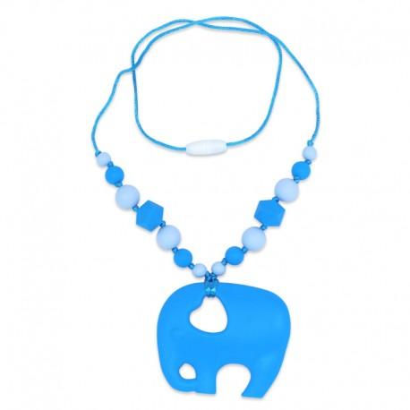 Silikonový náhrdelník modrý slon s korálky