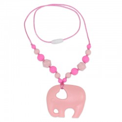 Silikonový náhrdelník růžový slon s korálky