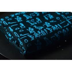 Scrap šátku Luluna Hieroglyphs Turquoise/Black - 1 m