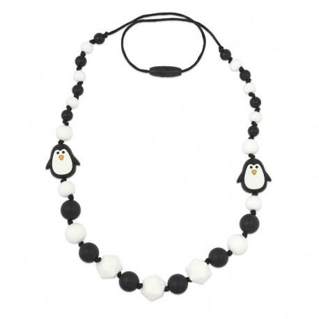 Silikonové korále s tučňákem černo-bílé