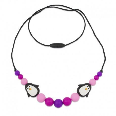 Silikonové korále s tučňáky růžovo-fialové
