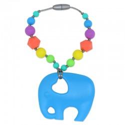 Silikonový přívěsek modrý slon s korálky