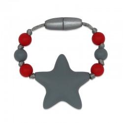 Silikonový kroužek na šátek šedá hvězda
