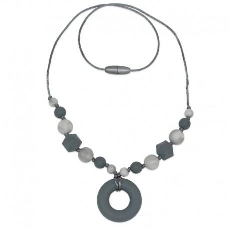 Silikonový náhrdelník šedý donut