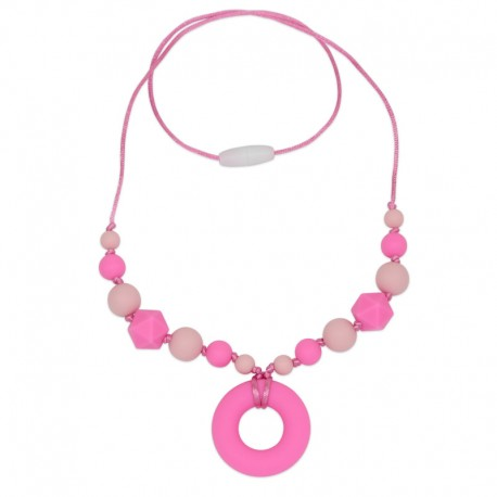 Silikonový náhrdelník růžový donut