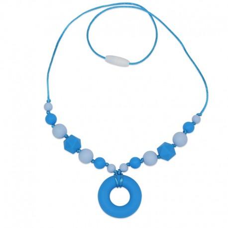 Silikonový náhrdelník modrý donut