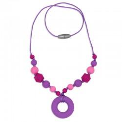 Silikonový náhrdelník fialový donut