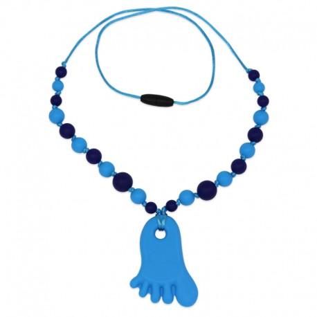 Silikonový náhrdelník modrá nožička s korálky