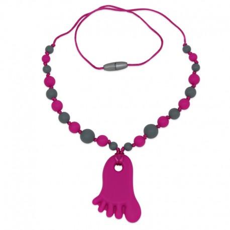 Silikonový náhrdelník růžová nožička s korálky