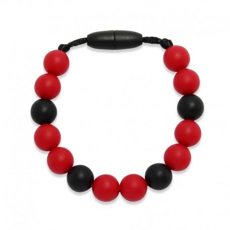 Silikonový náramek červené korálky