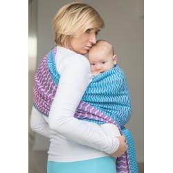 LennyLamb Zigzag Turquoise & Pink - žakárový šátek