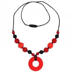 Silikonový náhrdelník červený donut